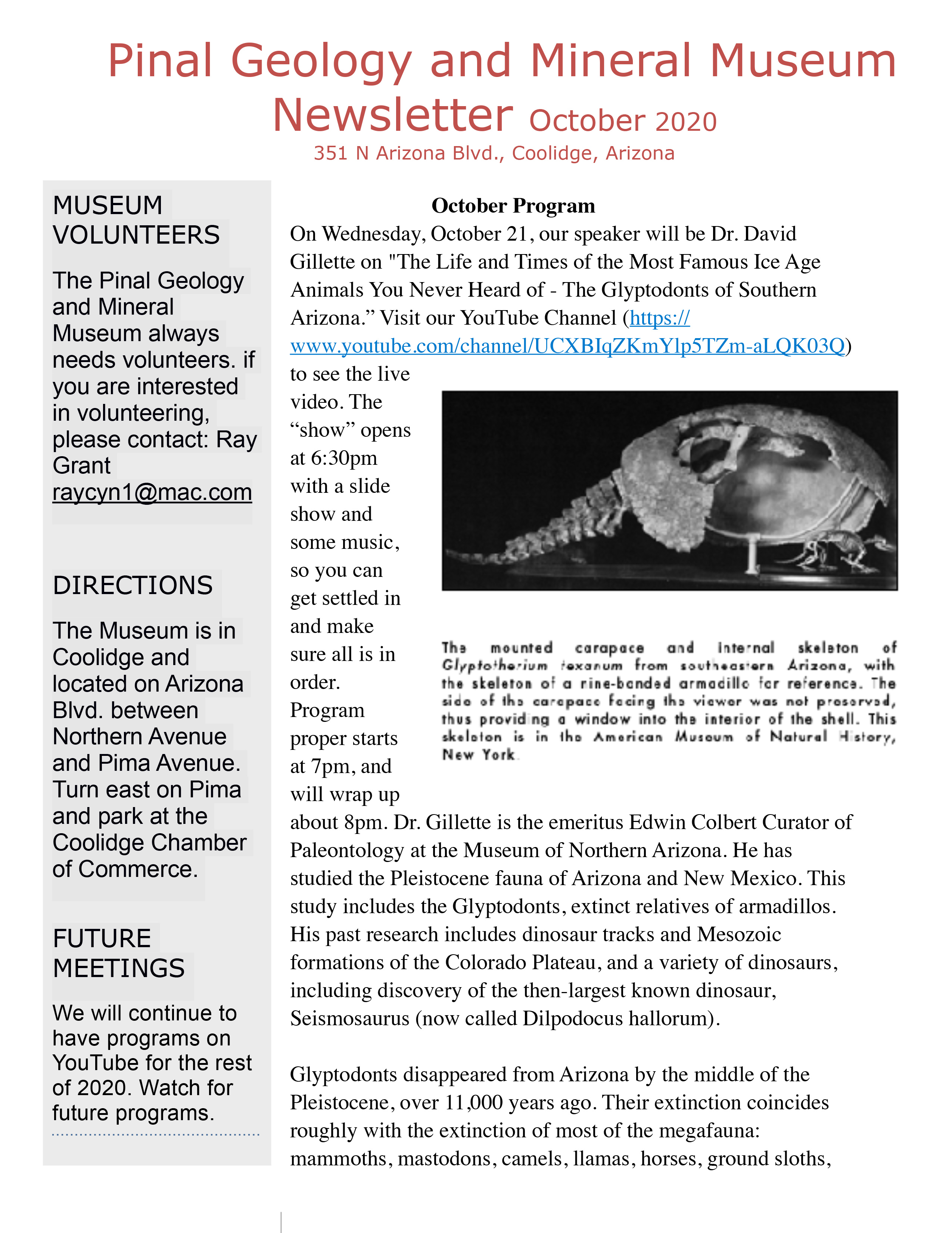 Newsletter October 2020 page 1